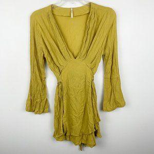 Free People Marigold BOHO Wrap V Neck Dress S